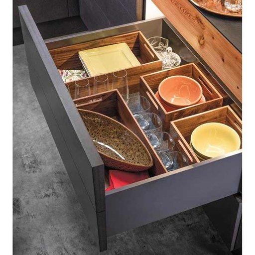 "View a Larger Image of Fineline Kitchen Storage Box 1 – Walnut – 8-5/16"" x 16-11/16"" x 4-3/4"""