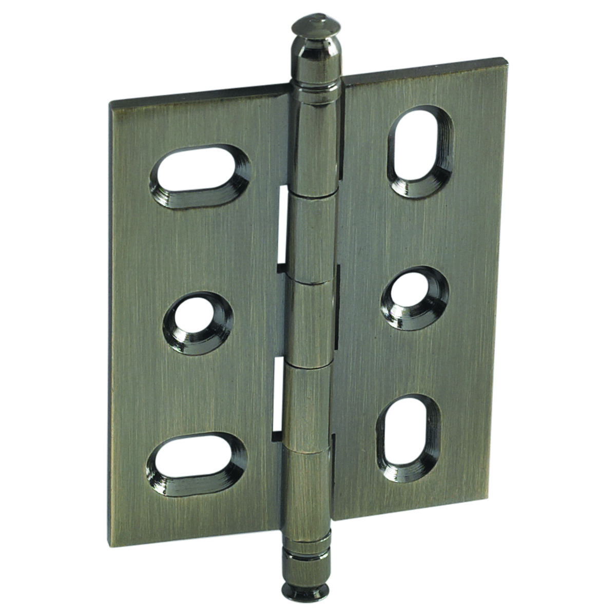 View a Larger Image of Mortise Solid Brass Butt Hinge with Finial in Antique Brass
