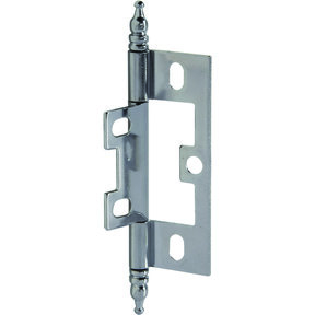 Non-Mortise Butt Hinge with Finial in Chrome