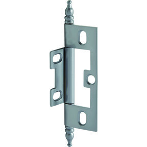 Non-Mortise Butt Hinge with Finial in Satin Chrome