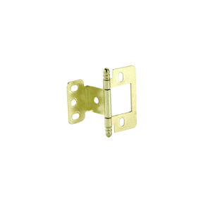 Non-Mortise Partial Wrap Hinge with Ball Finial in Brass Plated Finish