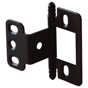 Non-Mortise Partial Wrap Hinge with Ball Finial in Oil Rubbed Bronze Finish