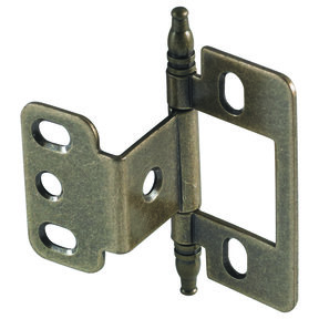Non-Mortise Partial Wrap Hinge with Minaret Finial in Antique Brass Finish