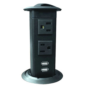 Power Pop-Up Station - Two Outlets, Two Charging USB Ports