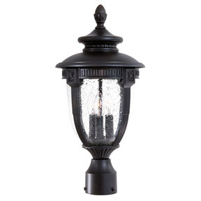 Hardwire Decorative outdoor electric post light in Black col