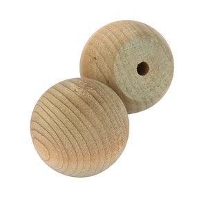 "Hardwood Ball Knob w/Screws - 1-1/4"" Diameter - 3/4"" Flat - 2 Piece"