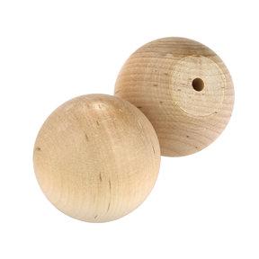 "Hardwood Ball Knob w/Screws - 1-3/4"" Diameter - 3/4"" Flat - 2 Piece"