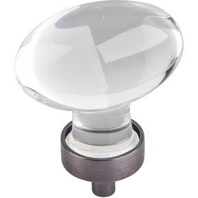 "Harlow Large Football Glass Knob,1-5/8"" O.L., Brushed Pewter"