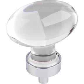 """Harlow Large Football Glass Knob,1-5/8"""" O.L., Polished Chrome"""