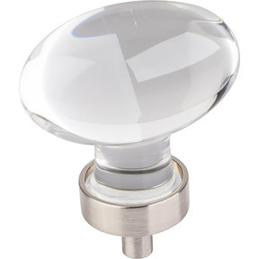 "Harlow Large Football Glass Knob,1-5/8"" O.L., Satin Nickel"
