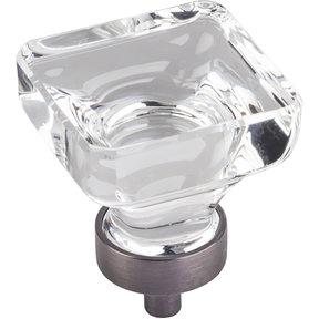 "Harlow Large Square Glass Knob, 1-3/8"" O.L., Brushed Pewter"