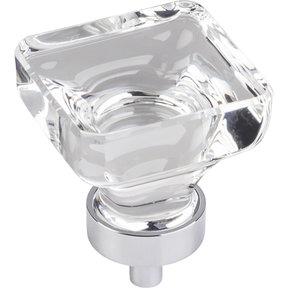 "Harlow Large Square Glass Knob, 1-3/8"" O.L., Polished Chrome"