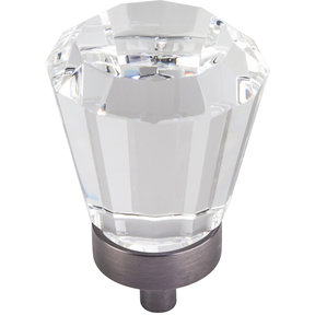 """Harlow Large Tapered Glass Knob, 1-1/4"""" Dia.,  Brushed Pewter"""