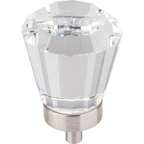 "Harlow Large Tapered Glass Knob, 1-1/4"" Dia.,  Satin Nickel"