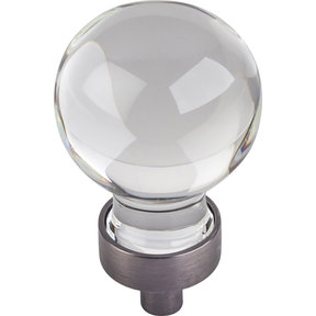 """Harlow Small Sphere Glass Knob, 1-1/16"""" Dia Brushed Pewter"""