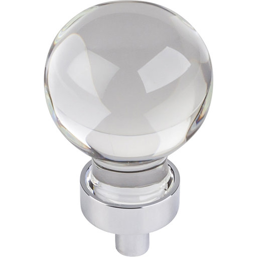 """View a Larger Image of Harlow Small Sphere Glass Knob, 1-1/16"""" Dia Polished Chrome"""