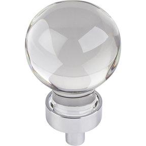 "Harlow Small Sphere Glass Knob, 1-1/16"" Dia Polished Chrome"