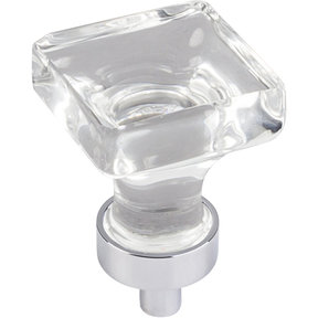 "Harlow Small Square Glass Knob 1"" O.L.,  Polished Chrome"