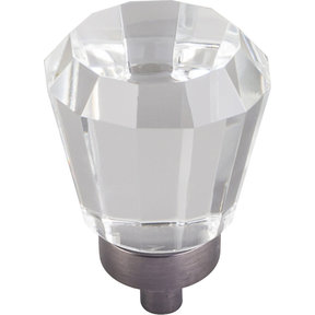 """Harlow Small Tapered Glass Knob 1"""" Dia  Brushed Pewter"""