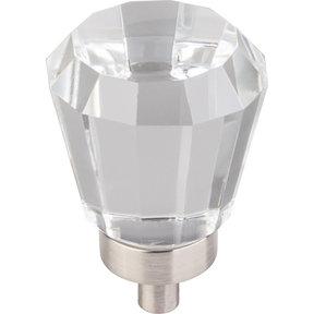 "Harlow Small Tapered Glass Knob 1"" Dia  Satin Nickel"