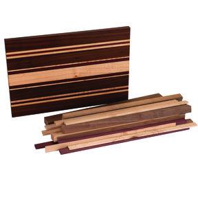 """3/4"""" x 10-1/2"""" x 16"""" Maple, Walnut & Purpleheart Hashery Cutting Board Kit"""