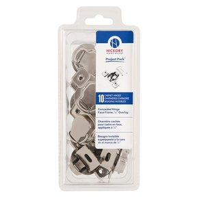 """Concealed Face Frame Hinge with 1/2"""" (1-piece) Overlay Project Pack, Bright Nickel"""