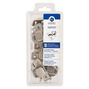 """Concealed Face Frame Hinge with 1/2"""" (2-piece) Overlay Project Pack, Bright Nickel"""