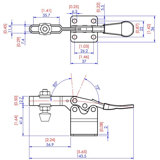 View a Larger Image of High Base Toggle Clamp 2-1/4 x 7/8, 200lbs.