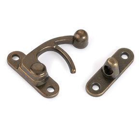 Hook Latch Large Antique Brass with Screws 1 pc