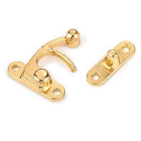 Hook Latch Large Polished Brass Plated with Screws 1 pc