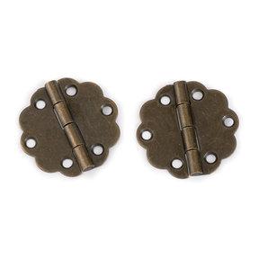 Decorative Round Box Hinge Antique Brass pair with Screws Pair
