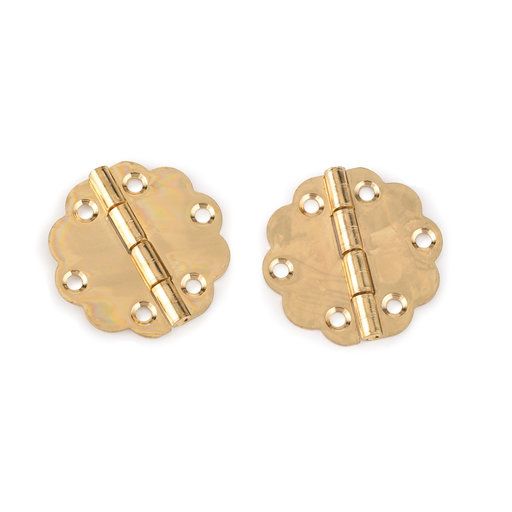 View a Larger Image of Decorative Round Box Hinge Polished Brass Finish with Screws Pair