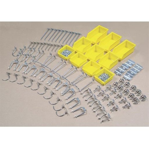 View a Larger Image of Hook Assortment, 95 pc, with 10 Hanging Bins for Peg Board