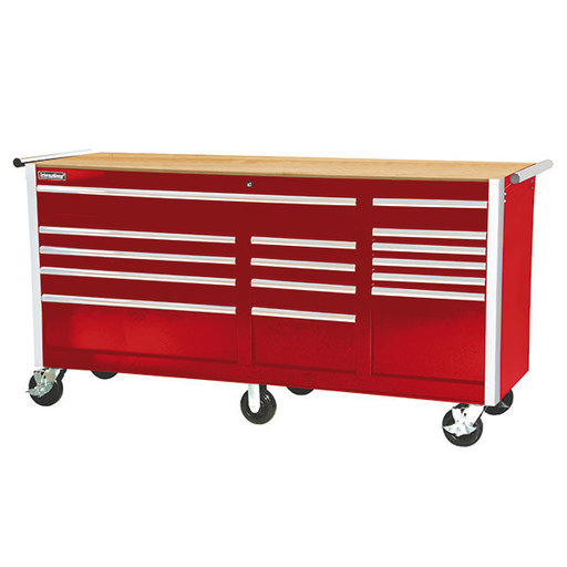 """View a Larger Image of Tech Series 75"""" 15-Drawer Cabinet with Wood Top, Red"""