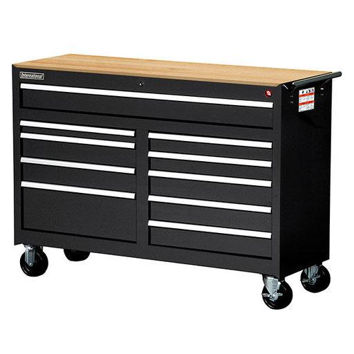 """View a Larger Image of Workshop Series 54"""" 10-Drawer with Wood Top, Black"""