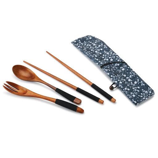 View a Larger Image of Ironwood Chopsticks,Spoon and Fork Laquered Wrapped with Black Cord with Fabric Sleeve