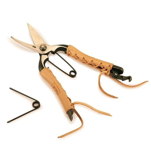 View a Larger Image of Kajiya Miki Village Bud Shears with Leather Wrapped Handles 7 inch