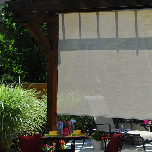 View a Larger Image of Valanced Sunshade, Elite Plus, Remote Control, 6' W x 8' Drop, Maui Fabric