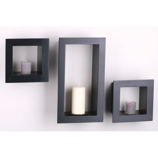 View a Larger Image of Knape & Vogt 3-Piece Frame Cube Shelf Set, Black Finish