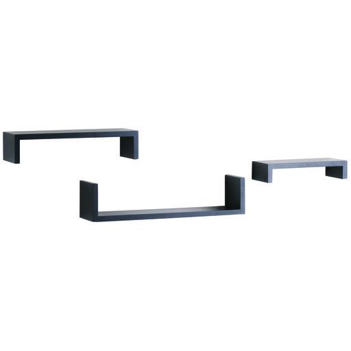 """View a Larger Image of Knape & Vogt 3-Piece Ledge Set, 4"""" Deep, Black Finish"""