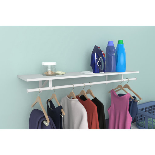 "View a Larger Image of Laminate Shelf & Rod Kit 48"" W x 12"" D, White"