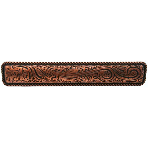 View a Larger Image of Large Engraved Flower Pull, Copper Oxide