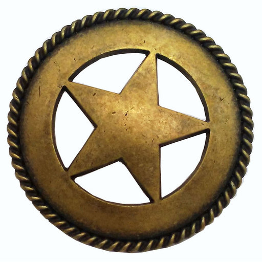 View a Larger Image of Large Star with Rope Pull, Brass Oxide