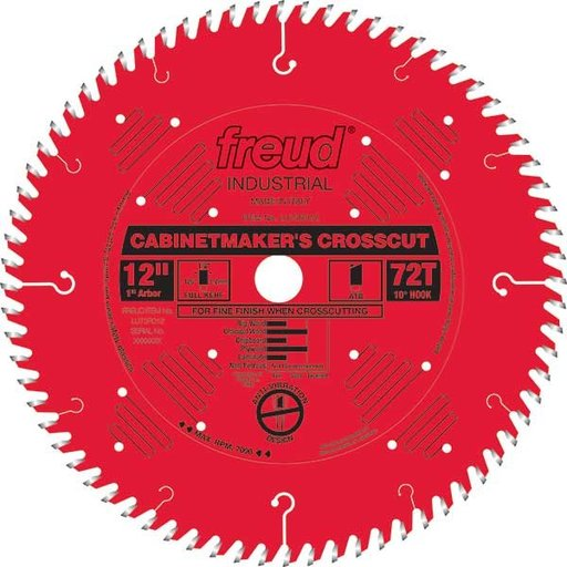 """View a Larger Image of LU73R012 Cabinetmaker's Crosscut Saw Blade 12"""" x 1"""" bore x 72 Tooth Hi-ATB"""
