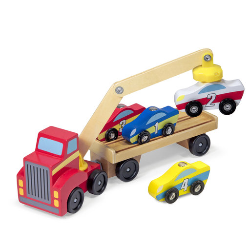 """View a Larger Image of Magnetic Car Loader Wooden Toy Set, Cars & Trucks, Helps Develop Motor Skills, 4 Cars and 1 Semi-Trailer Truck, 5.75"""" H"""