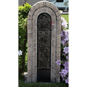 MailKeeper Locking Mailbox with Morning Rose Design Front and Front / Rear Mail Retrieval Door - Black