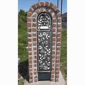 MailKeeper Locking Mailbox with Morning Rose Design Front and Front / Rear Mail Retrieval Door - Silver