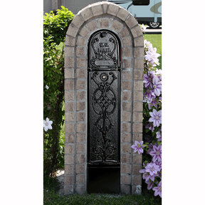 MailKeeper Locking Mailbox with Old English Design Front and Front / Rear Mail Retrieval Door - Black