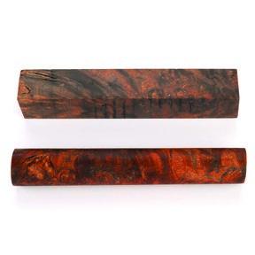 "Stabilized & Double Dyed Maple Burl Pen Blank - 3/4"" x 3/4"" x 5"" - Orange & Black"