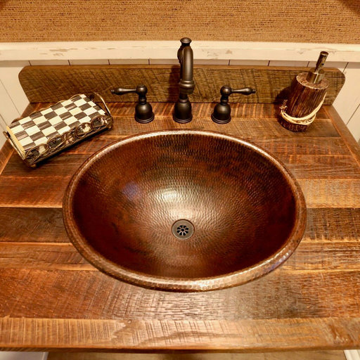View a Larger Image of Master Bath Oval Self Rimming Hammered Copper Bathroom Sink
